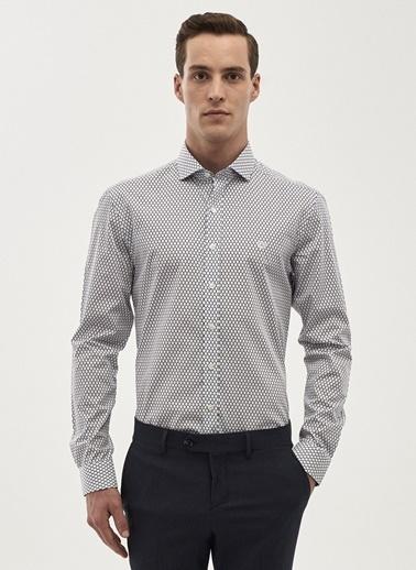 Beymen Business Desenli Slim Fit Uzun Kollu Gömlek Beyaz